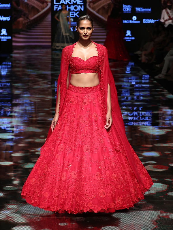 Cherry Red Lehenga
