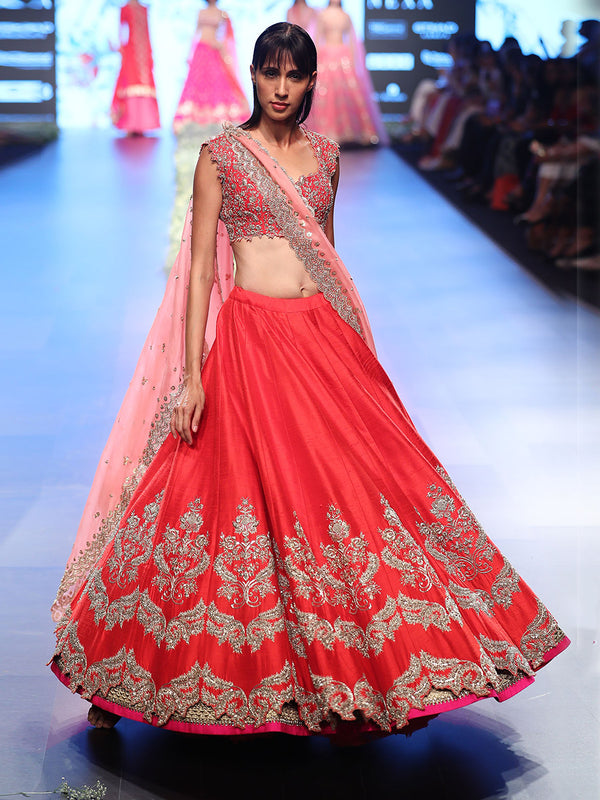 Red Raw Silk Zardozi Lehenga