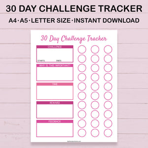 30 Day Challenge Tracker Printable (Pink)