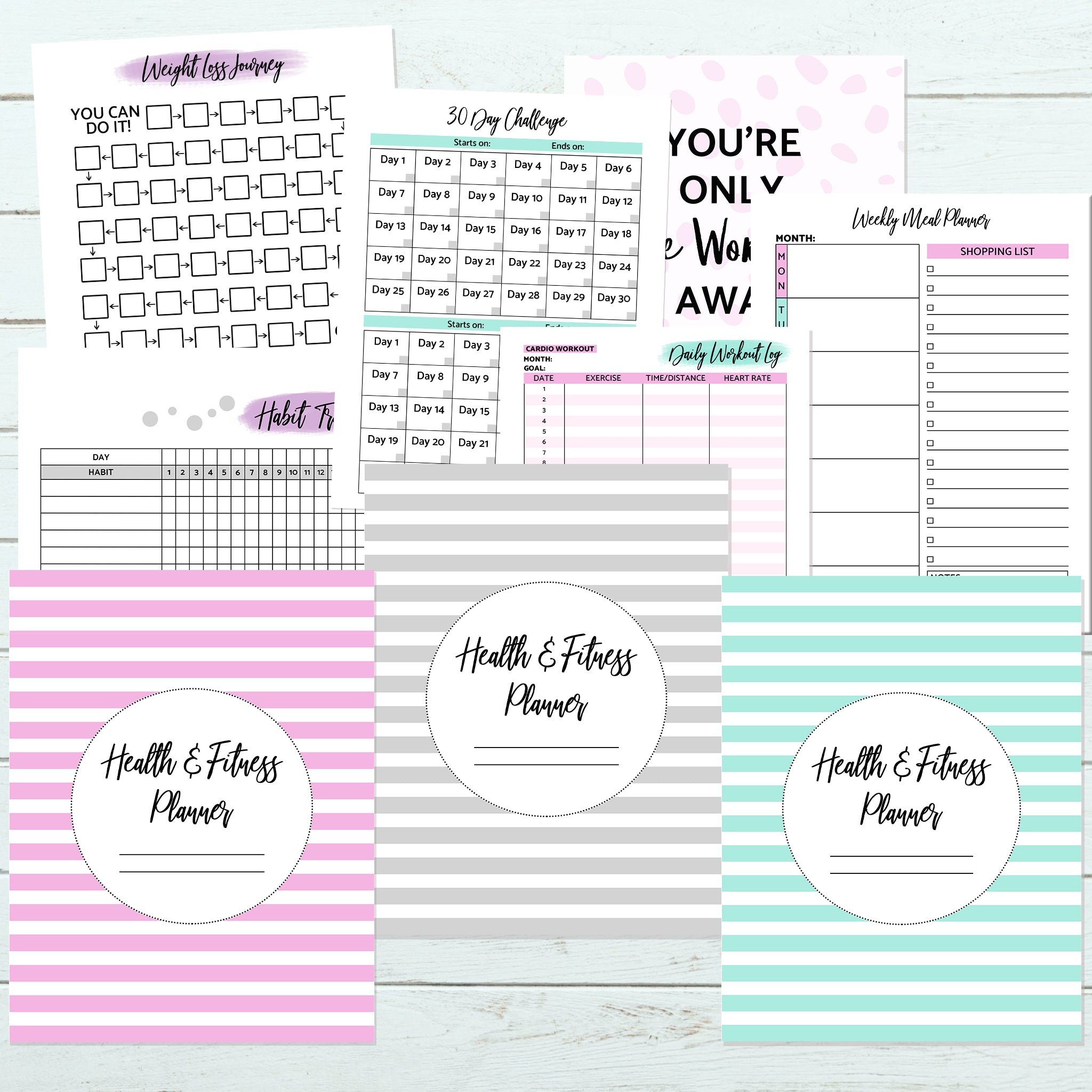 21-page health and fitness planner printable