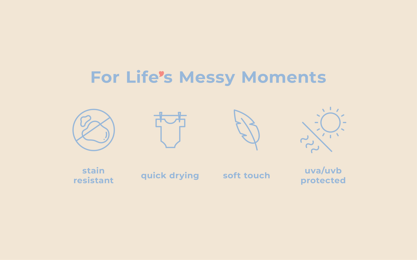 For Life's Messy Moments. Stain Resistant. Quick. Drying. Soft Touch. UVA/UVB Protected.