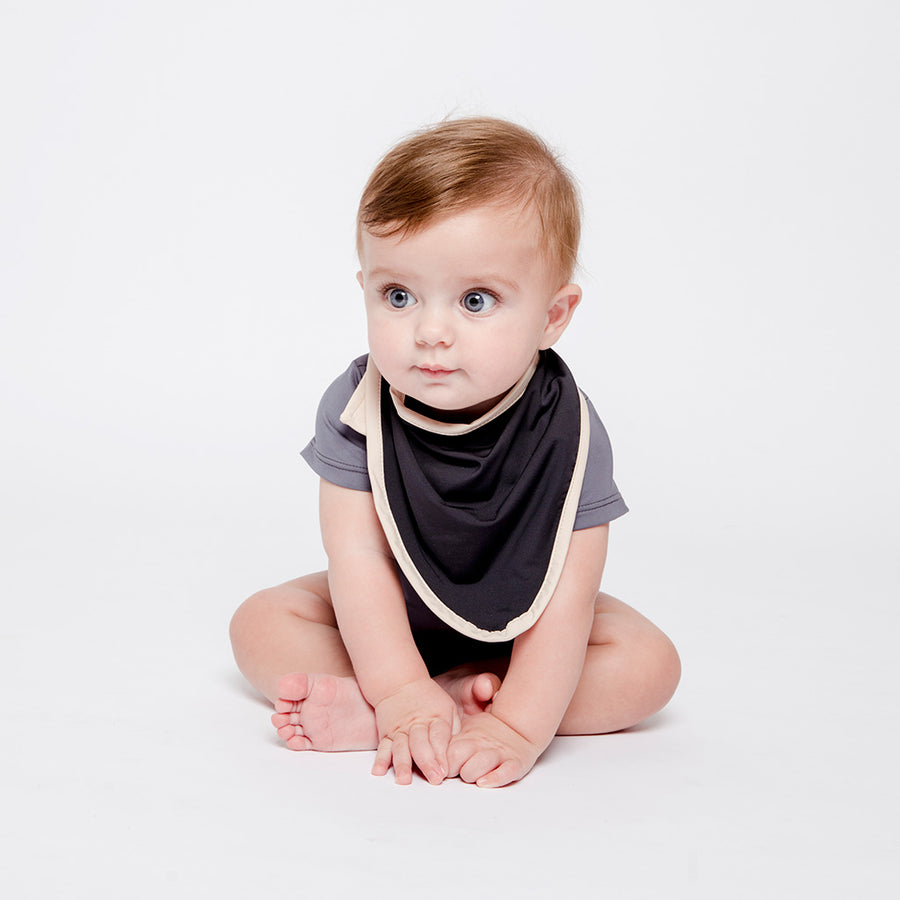 Baby Boy in Happy Lil' One Slate Blue Bodysuit and Charcoal Bib