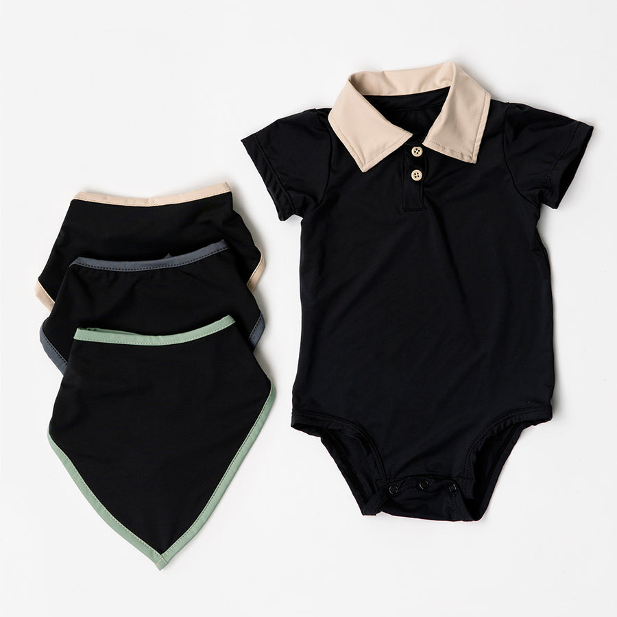 Happy Lil' One Baby Boy Bodysuit Bib Essentials Gift Set in Charcoal