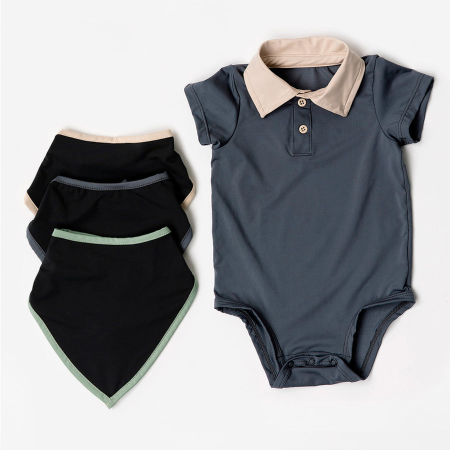 Happy Lil' One Baby Boy Bodysuit Bib Essentials Gift Set in Slate Blue