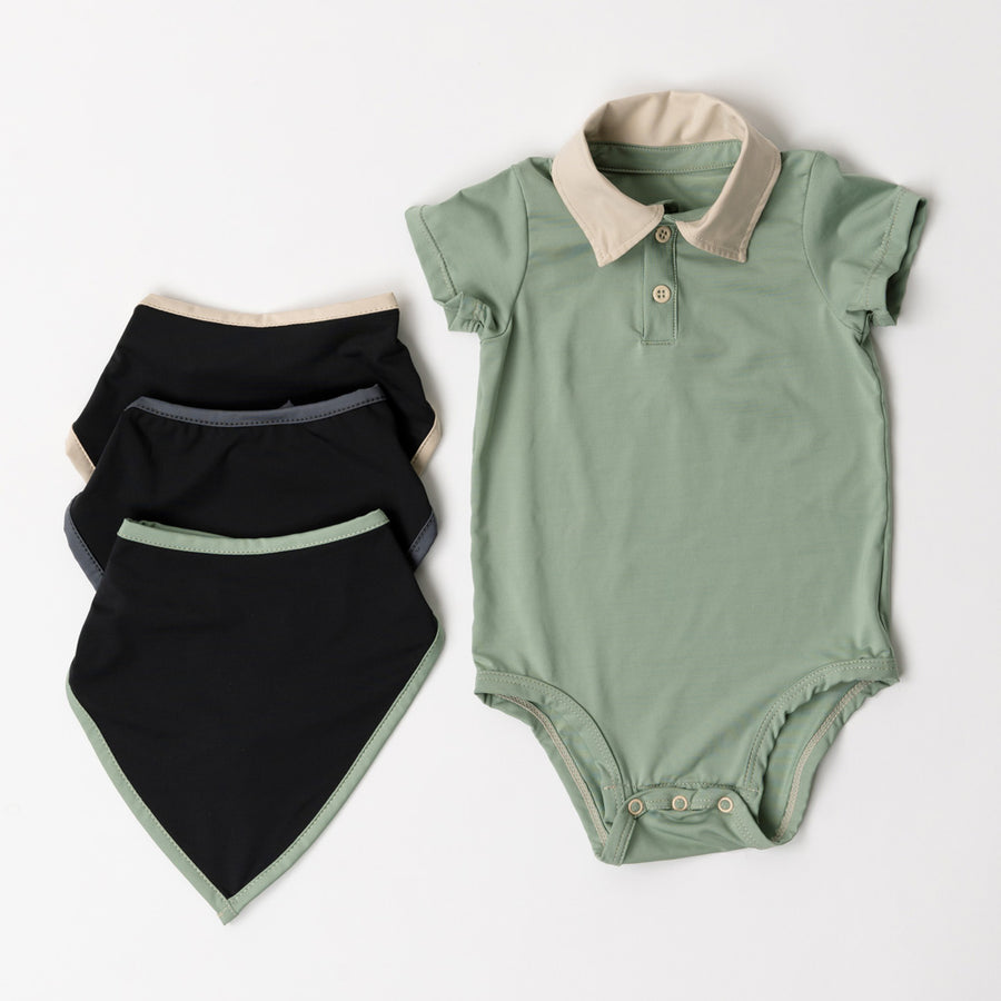 Happy Lil' One Baby Boy Bodysuit Bib Essentials Gift Set in Sage Green
