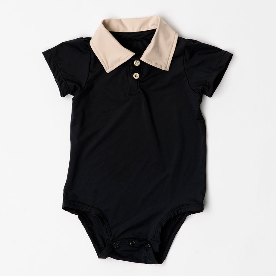 Happy Lil' One Baby Boy The Polo Collar Bodysuit in Charcoal Black