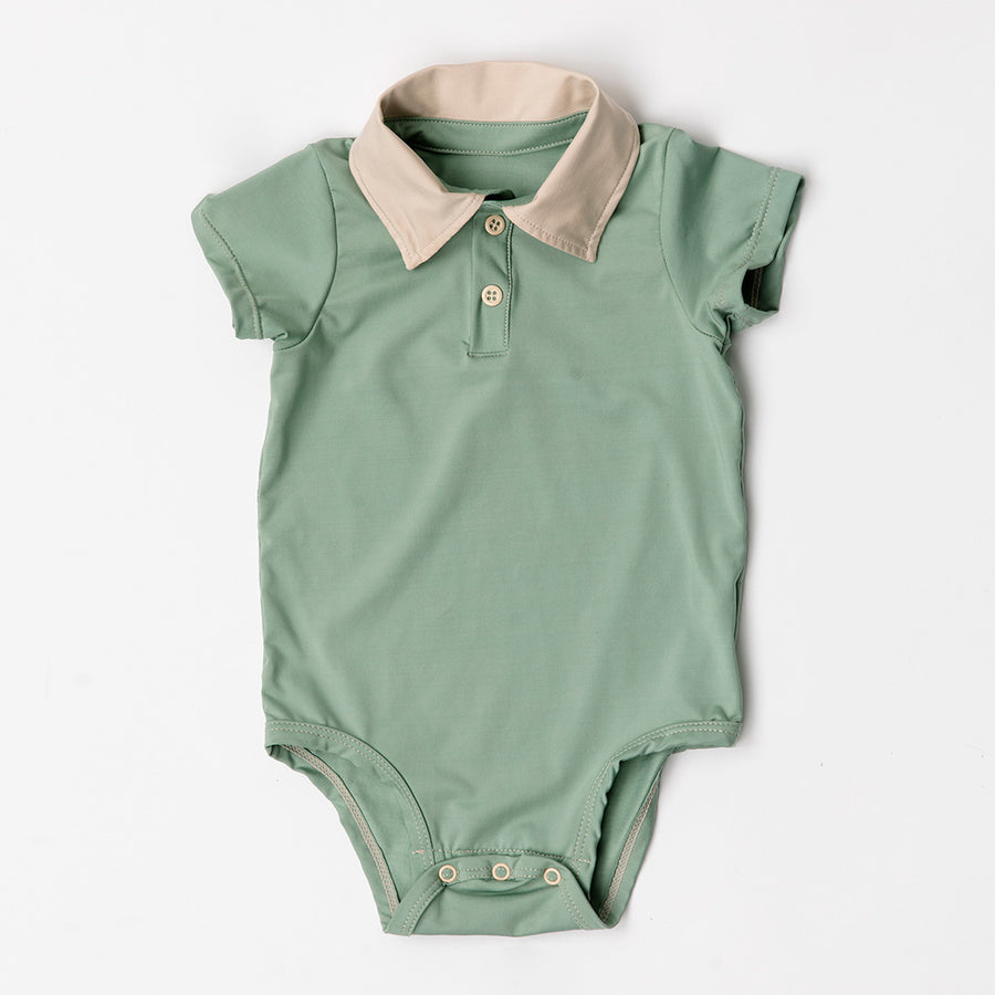 Happy Lil' One Baby Boy The Polo Collar Bodysuit in Sage Green