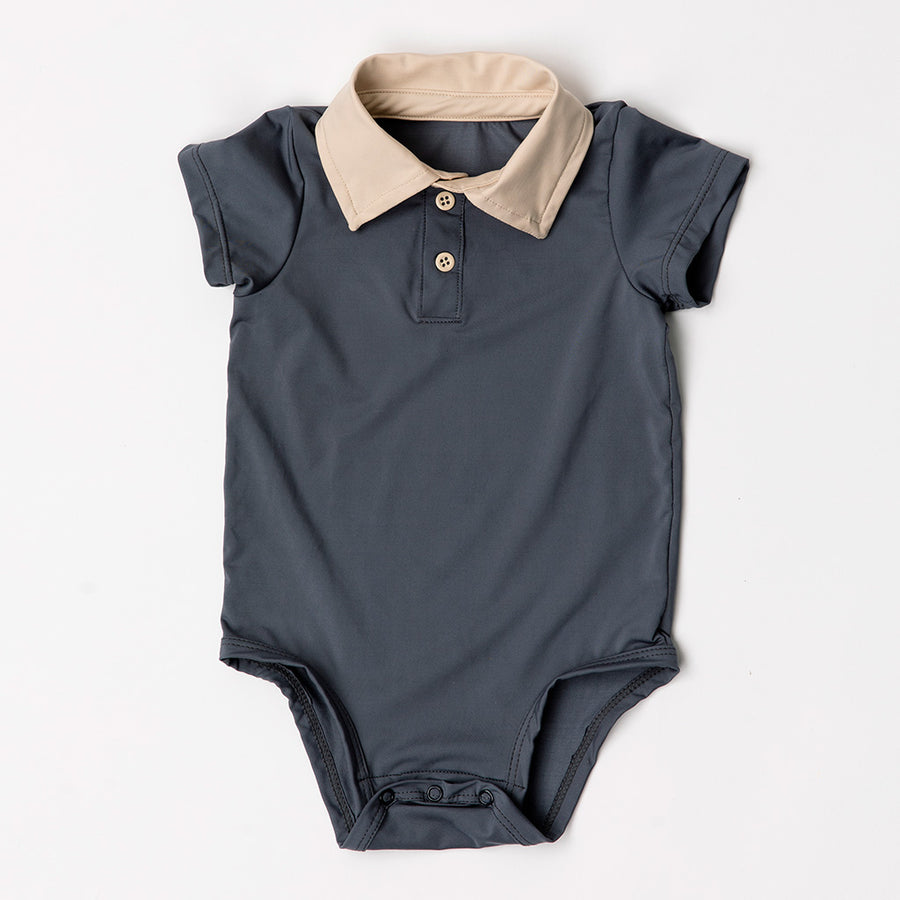 Happy Lil' One Baby Boy The Polo Collar Bodysuit in Slate Blue
