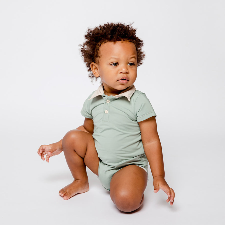 Baby Boy in Sage Green Happy Lil' One Bodysuit