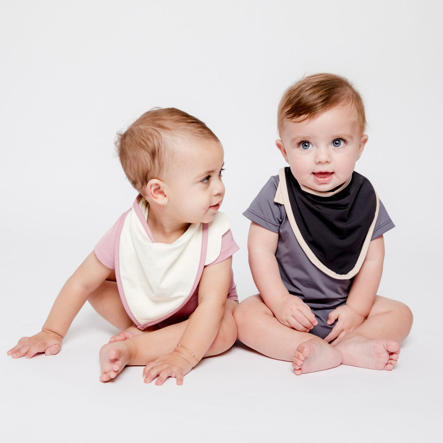 Baby Girl and Boy in Happy Lil' One Bodysuit and Bib