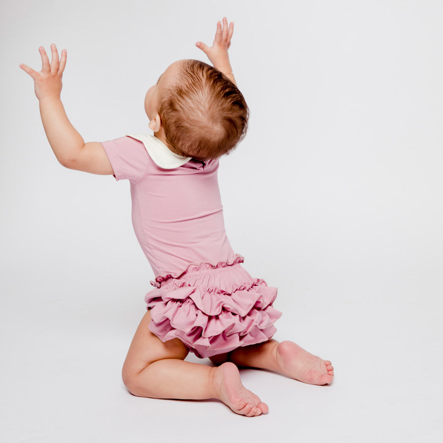 Baby Girl in Rose Pink Happy Lil' One Bodysuit and Bloomers