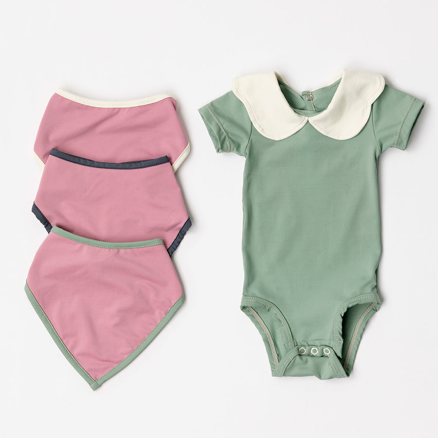 Happy Lil' One Baby Girl Essentials Bodysuit and Bib Gift Set in Sage Green