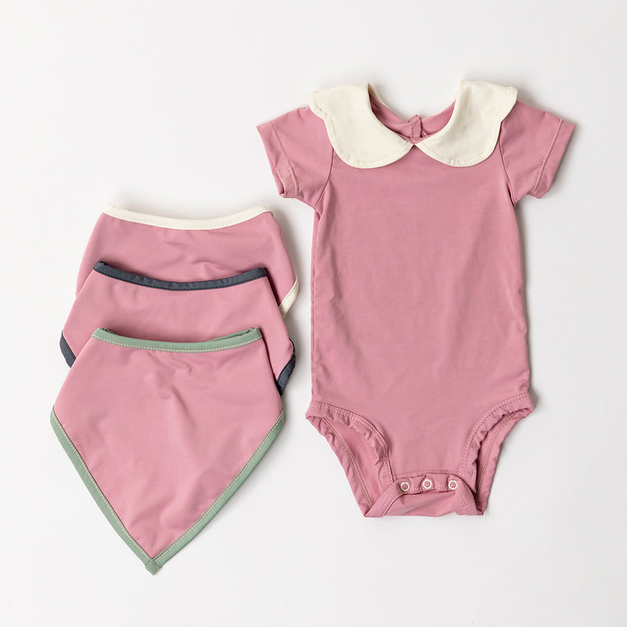 Happy Lil' One Baby Girl Essentials Bodysuit and Bib Gift Set in Rose Pink