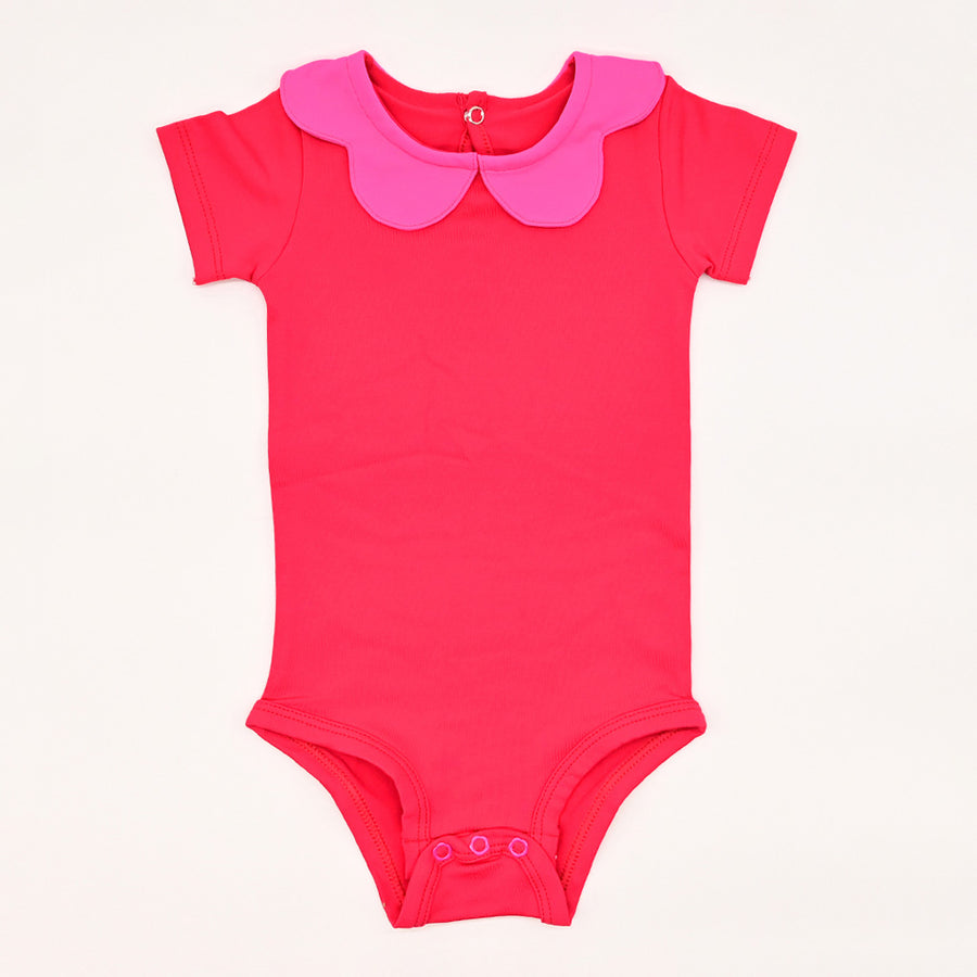 Happy Lil' One Baby Girl Scallop Bodysuit in Red & Hot Pink