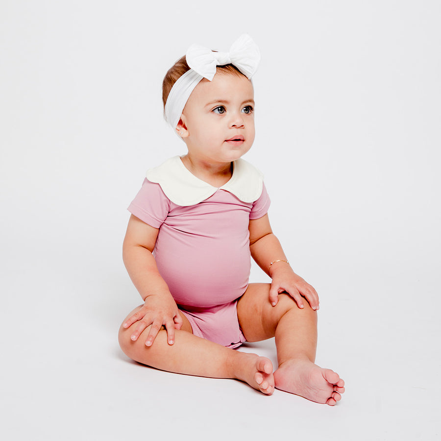 Happy Lil' One Baby Girl Scallop Bodysuit in Rose Pink