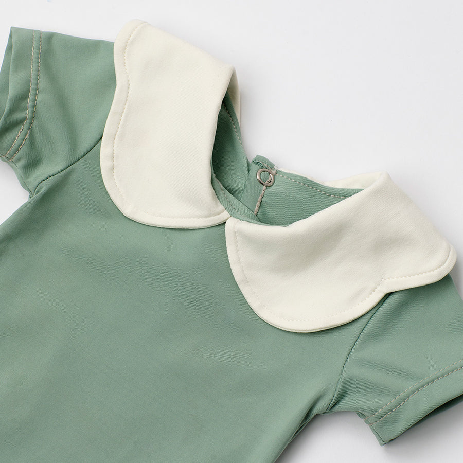 Happy Lil' One Baby Girl Scallop Collar Bodysuit in Sage Green