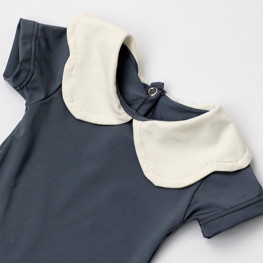 Happy Lil' One Baby Girl Scallop Collar Bodysuit in Slate Blue