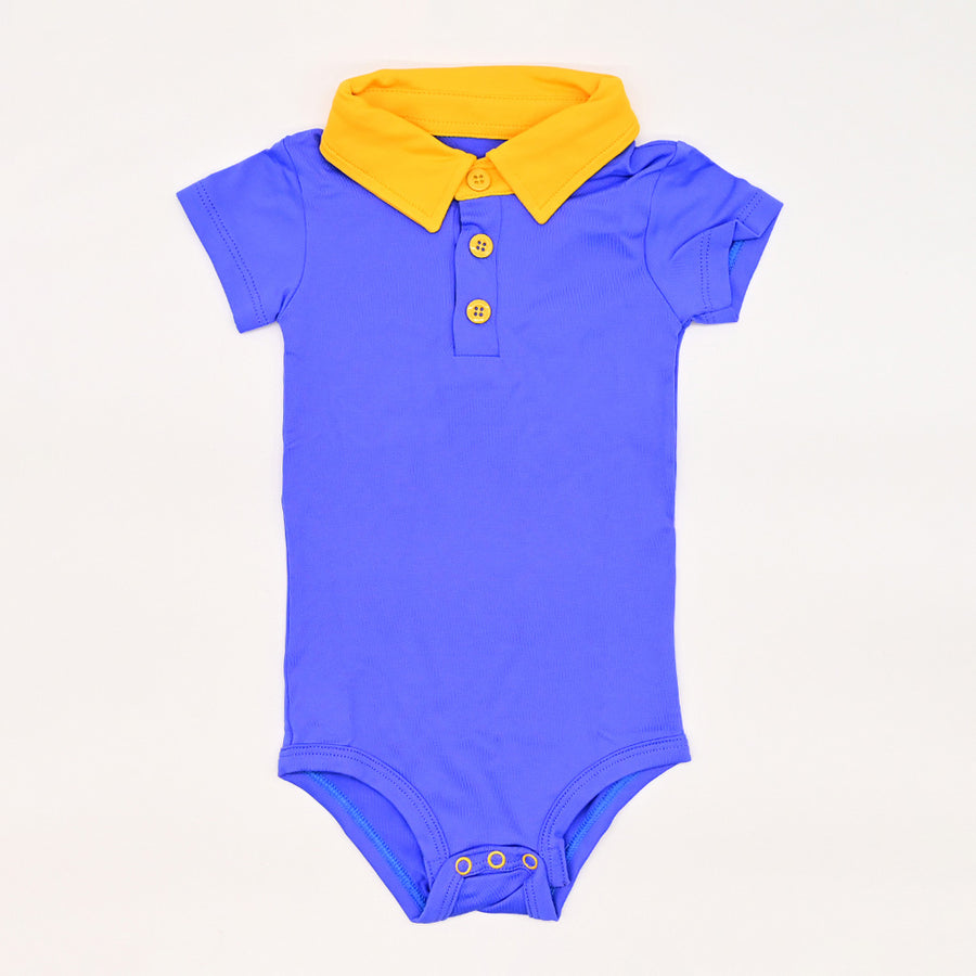 Happy Lil' One Baby Boy The Polo Bodysuit in Delphinium & Golden