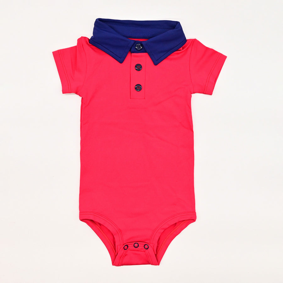 Happy Lil' One Baby Boy The Polo Bodysuit in Red & Navy