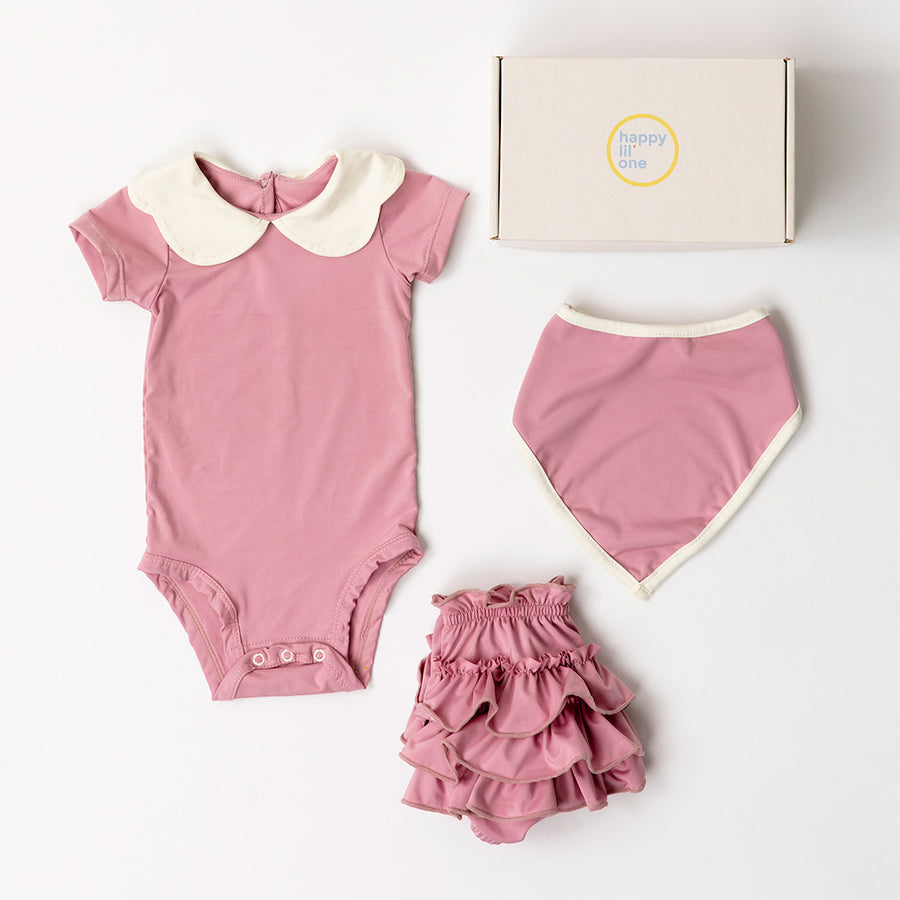 Happy Lil' One Baby Girl Scallop Bodysuit Gift Set in Rose Pink