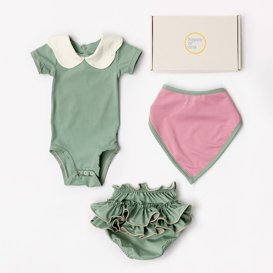 Happy Lil' One Baby Girl Scallop Bodysuit Gift Set in Sage Green