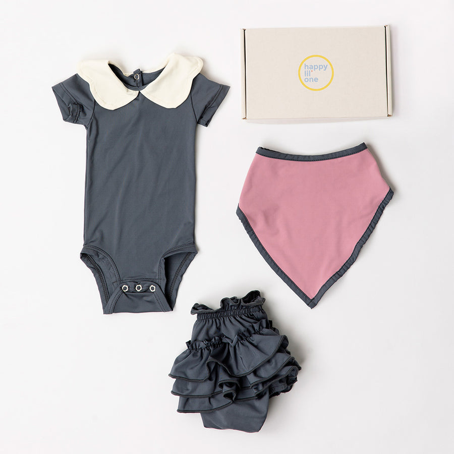 Happy Lil' One Baby Girl Scallop Bodysuit Gift Set in Slate Blue