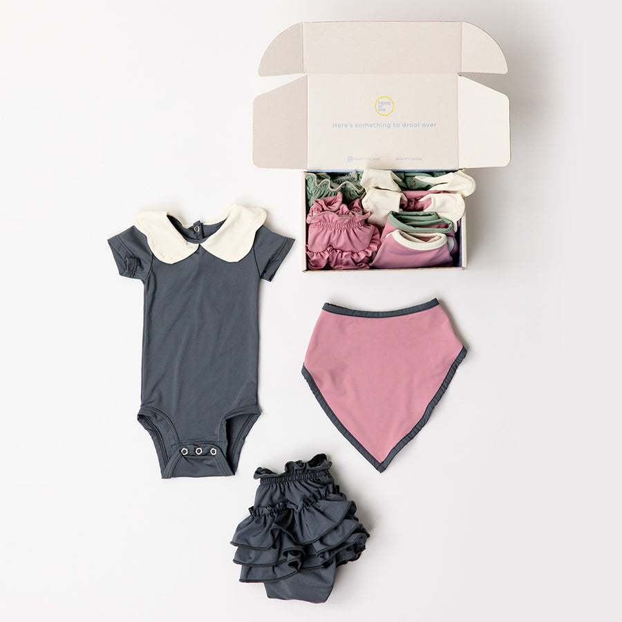 Happy Lil' One Baby Girl Premium Bodysuit, Bib and Bloomer Gift Set