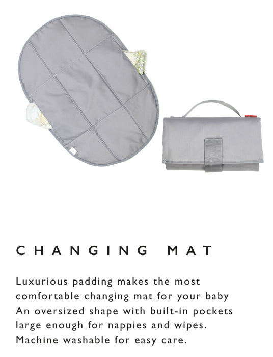 Luxurious padding makes the most comfortable changing mat for your baby An oversized shape with built-in pockets large enough for nappies and wipes. Machine washable for easy care.