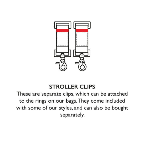 STORKSAK STROLLER CLIPS | These are separate clips, which can be attached to the rings on our bags. They come included with some of our styles, and can also be bought separately | Baby accessories | Storksak - Award-winning Baby Changing Bags & Accessories