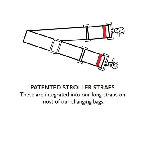 STORKSAK STROLLER STRAPS | PATENTED STROLLER STRAPS | These are integrated into our long straps on most of our changing bags | Baby accessories | Storksak - Award-winning Baby Changing Bags & Accessories