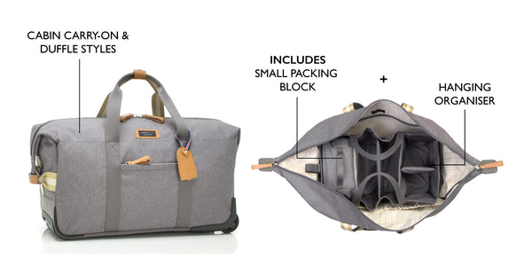 Storksak Travel Cabin Carry-on Grey hospital bag closed and open with hanging organiser and small packing block | Maternity hospital bag | Storksak - Award-winning Baby Changing Bags & Accessories