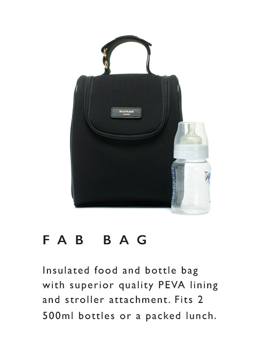 Insulated food and bottle bag with superior quality PEVA lining and stroller attachment. Fits 2  500ml bottles or a packed lunch.