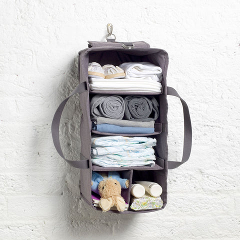 Hanging Organiser Grey Baby accessories hanging on wall hook | Storksak Travel Baby accessories | Storksak - Award-winning Baby Changing Bags & Accessories