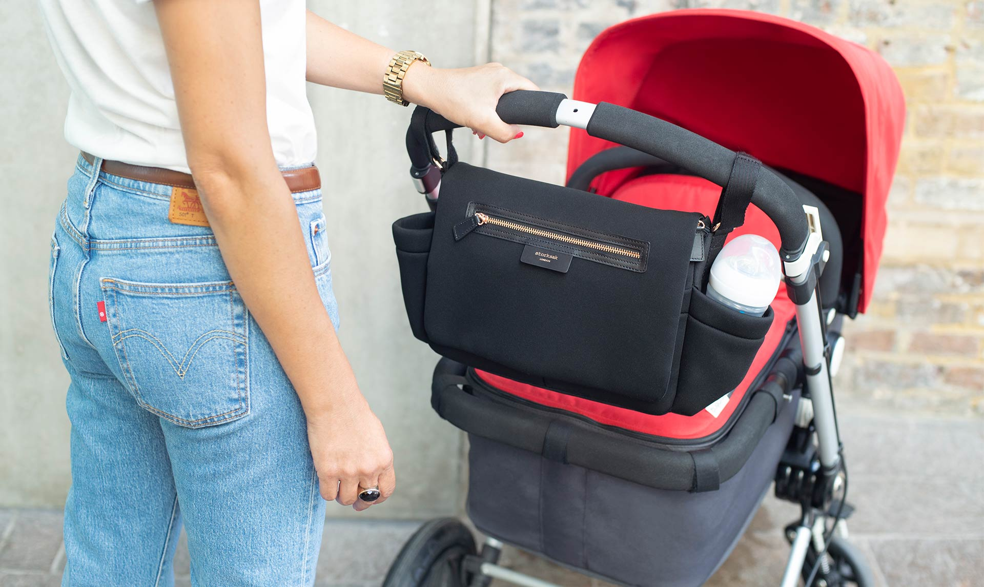 Stroller Organiser Luxe Black Scuba Baby accessories | Storksak Baby accessories | Storksak - Award-winning Baby Changing Bags & Accessories