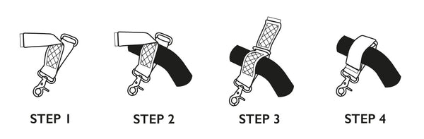 Storksak stroller straps | Steps for attaching to buggy | Steps for attaching to pram | Baby accessories | Storksak - Award-winning Baby Changing Bags & Accessories