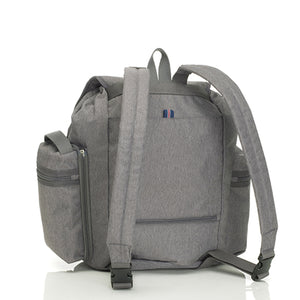 Storksak Travel Backpack Grey changing Bag back view | Backpack changing bag | Storksak - Award-winning Baby Changing Bags & Accessories