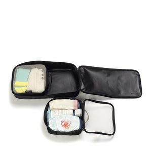 Packing Blocks Black Baby accessories set of 3 filled | Storksak Travel Baby accessories | Storksak - Award-winning Baby Changing Bags & Accessories