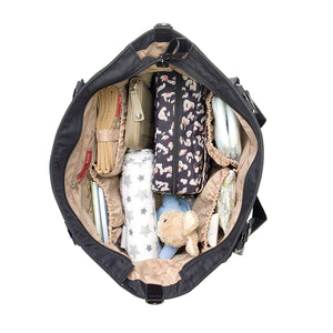 Cleo Black Baby Changing Bag internal view packed | Shoulder Bag Changing Bag | Storksak – Award-winning Baby Changing Bags & Accessories