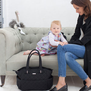 model with Bobby Black Changing Bag | Shoulder Bag Changing Bag | Storksak – Award-winning Baby Changing Bags & Accessories