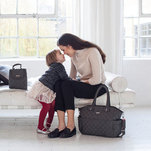 Model with Bobby Charcoal Baby Changing Bag | Shoulder Bag Changing Bag | Storksak - Award-winning Baby Changing Bags & Accessories
