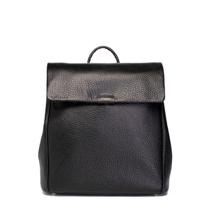 storksak front view black st james leather convertible backpack changing bag