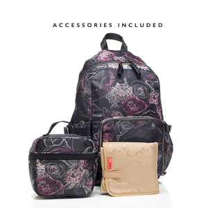 Hero floral backpack | storksak changing bag | changing mat | insulated bottle holder
