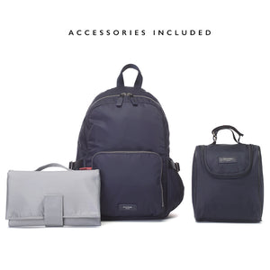 Hero navy backpack | storksak changing bag | changing mat with pockets | insulated bottle holder