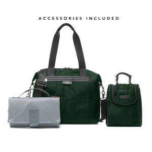 Stevie luxe Camo emerald | storksak changing bag | Changing mat with pockets | insulated bottle bag | stroller clips