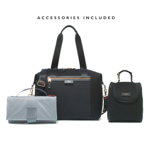 Stevie luxe scuba black | storksak changing bag | Changing mat | insulated bottle bag | stroller clips