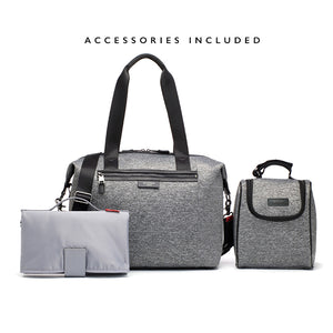 Stevie luxe scuba grey marl | storksak changing bag | Baby bag with changing mat | stroller clips | insulated bag