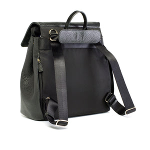 St. James leather black | storksak changing bag | comfortable padded back panel | convertible strap backpack shoulder bag