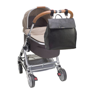 St. James leather black | storksak changing bag | stroller clips | bag attached to pram