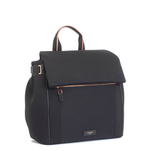 Storksak changing bag st james scuba front view, black changing, Convertible changing bag
