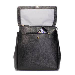 St James leather black | storksak changing bag | concealed front pocket